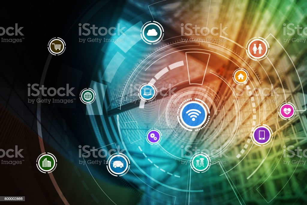 smart building and wireless communication network concept, Internet of Things, Information Communication Network, Smart City, Smart Grid, abstract image visual - foto stock