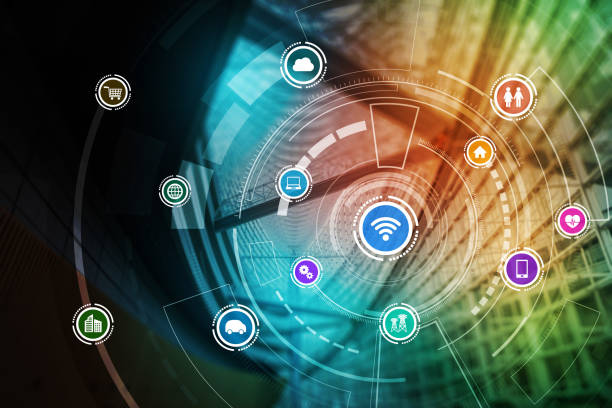 smart building and wireless communication network concept, Internet of Things, Information Communication Network, Smart City, Smart Grid, abstract image visual stock photo