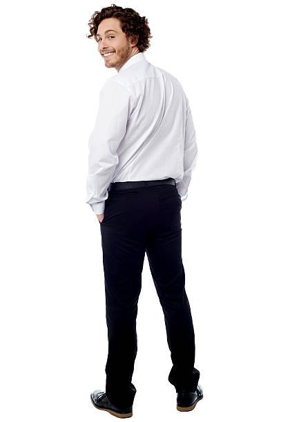 Smart business executive turning back stock photo