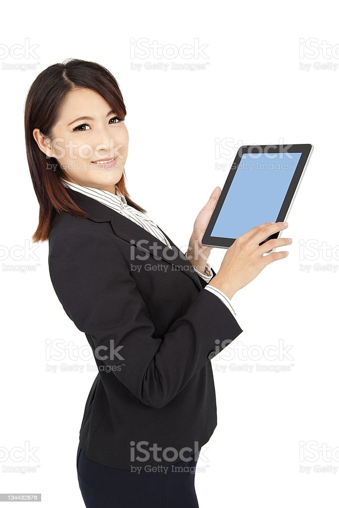 smart businesswoman holding touch pad royalty-free stock photo
