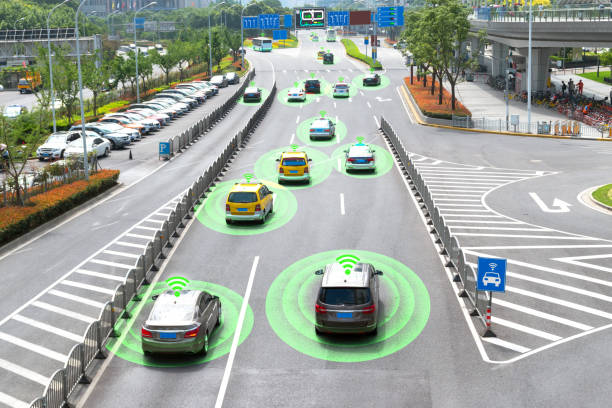 Smart car (HUD) and Autonomous self-driving mode vehicle on metro city road with graphic sensor signal. stock photo