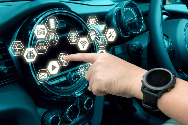 Smart car and internet of things (IOT) concept. Finger point to car 's console and icons popup out of screen. stock photo