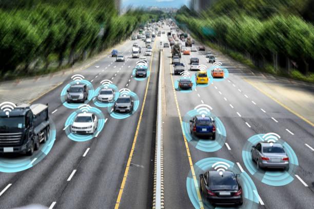 Smart car, Autonomous self-driving concept. stock photo