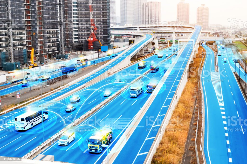 Smart car (HUD) , Autonomous self-driving mode vehicle on metro city road iot concept with graphic sensor radar signal system and internet sensor connect. stock photo