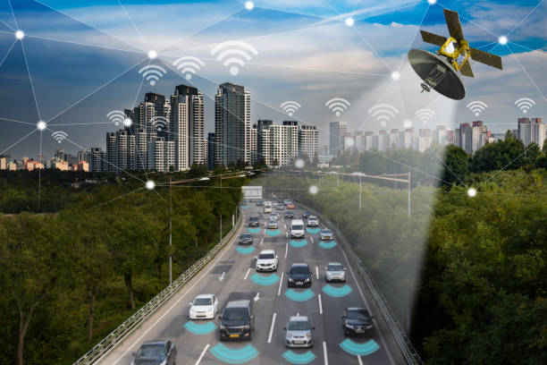 Smart car, Autonomous self-driving mode vehicle on metro city road IoT concept. stock photo