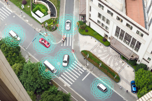 smart car (hud) , autonomous self-driving mode vehicle on metro city road iot concept with graphic sensor radar signal system and internet sensor connect. above view. - self driving car stock photos and pictures