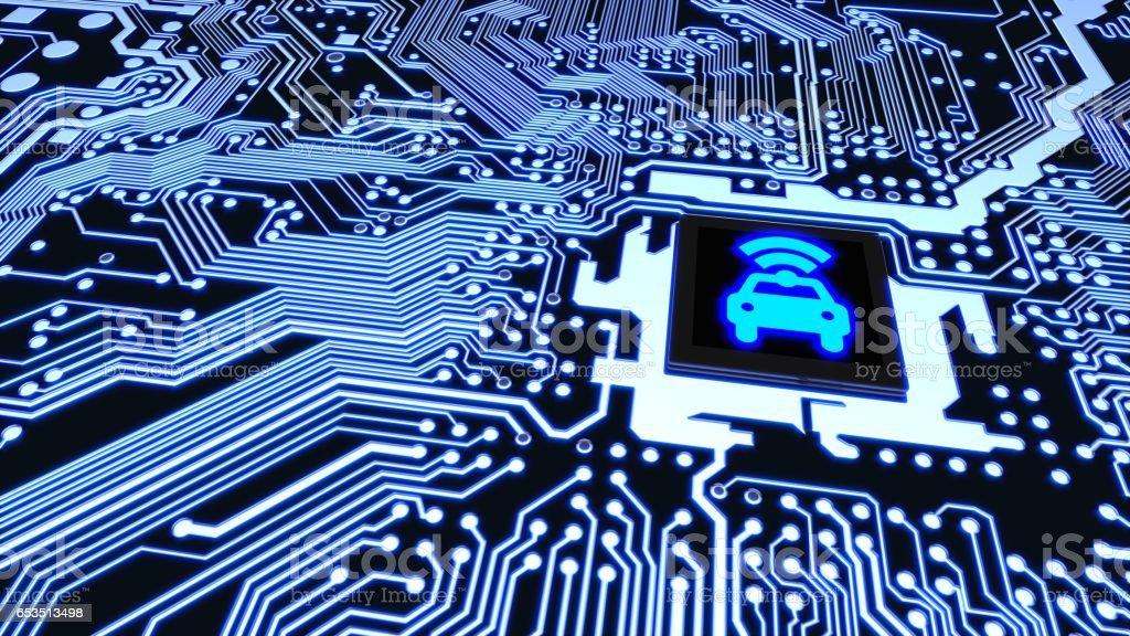 Circuito Wifi : Chip de coche elegante circuito wifi conectado el concepto de