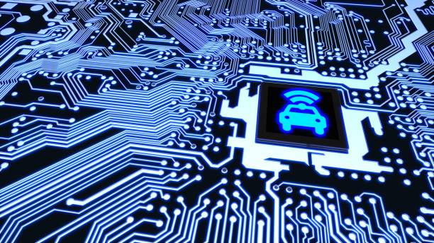 Smart car circuit board wifi chip connected vehicle concept stock photo