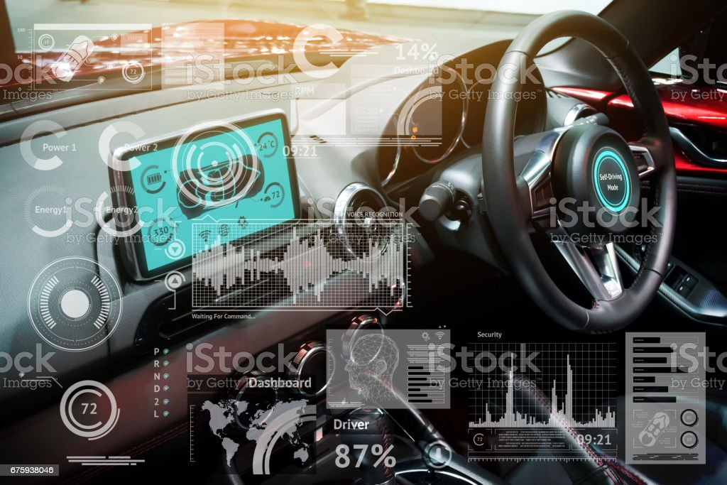 Smart car (HUD) concept. Empty cockpit in vehicle and Self-Driving mode car graphic screen with flare light stock photo