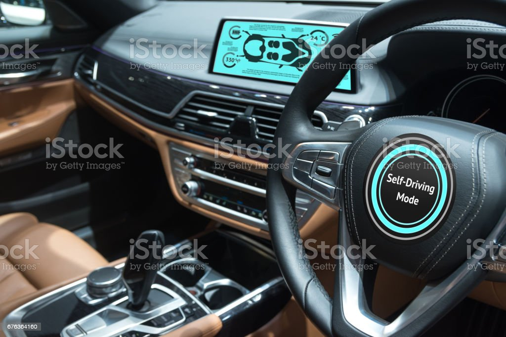 Smart car (HUD) concept. Empty cockpit in vehicle and Self-Driving mode car screen . stock photo
