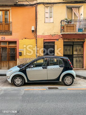 Valencia, Spain - March 23, 2021: Smart car model ForFour parked in the street. The German manufacturer produces it since 2014