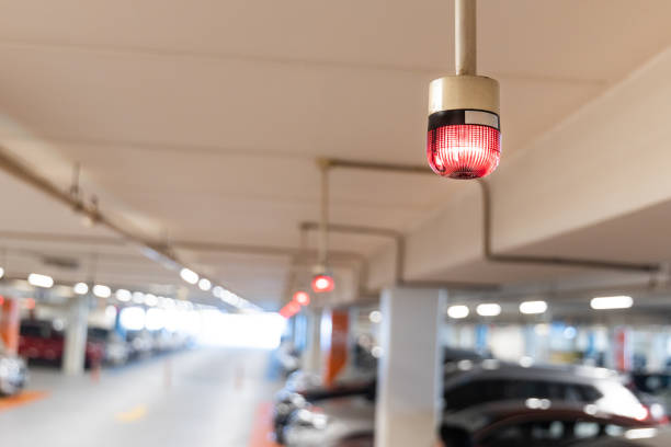 Smart car parking tracking system with lights signals vacancy availability stock photo