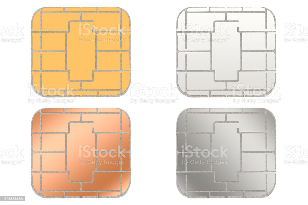 Smart card chip isolated on white background with clipping path stock photo