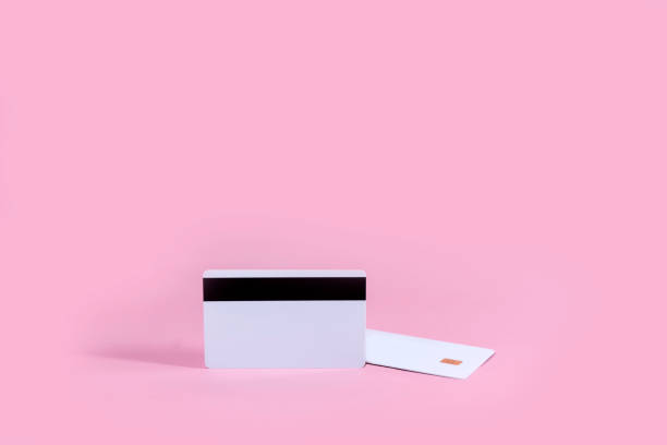 Smart Card on pink background. stock photo