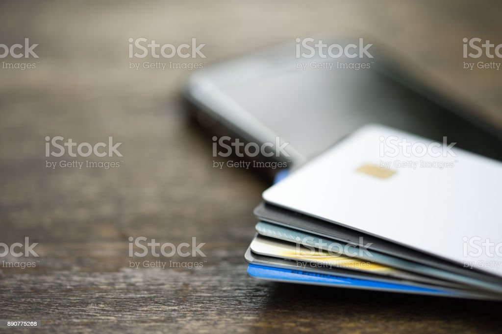 Smart cards or credit cards on smart phone. Concept of online...
