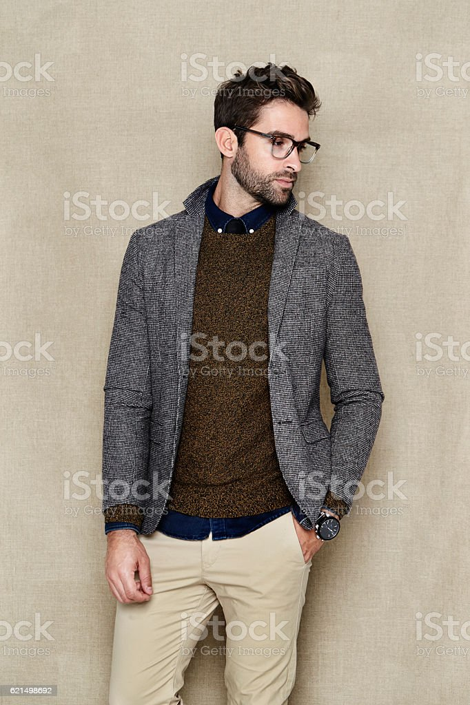 Smart casual man in studio stock photo