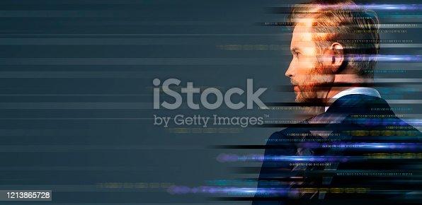 916376282 istock photo smart caucasian businessman transition filter effect futuristic technology ideas concept illusion creative image effect 1213865728