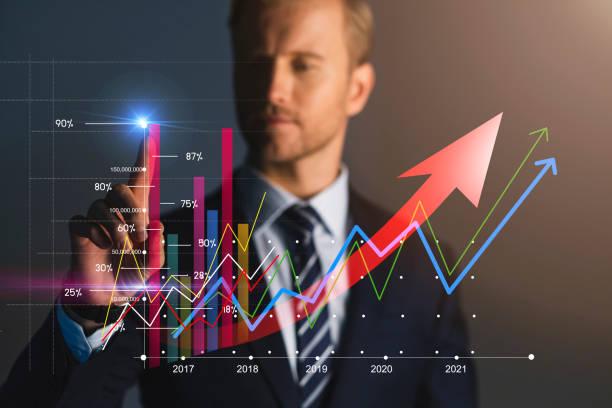 smart caucasian Geschäftsmann White Collar Hand Punkt Finanz-Aktien-Chart busines Finanzideen-Konzept – Foto