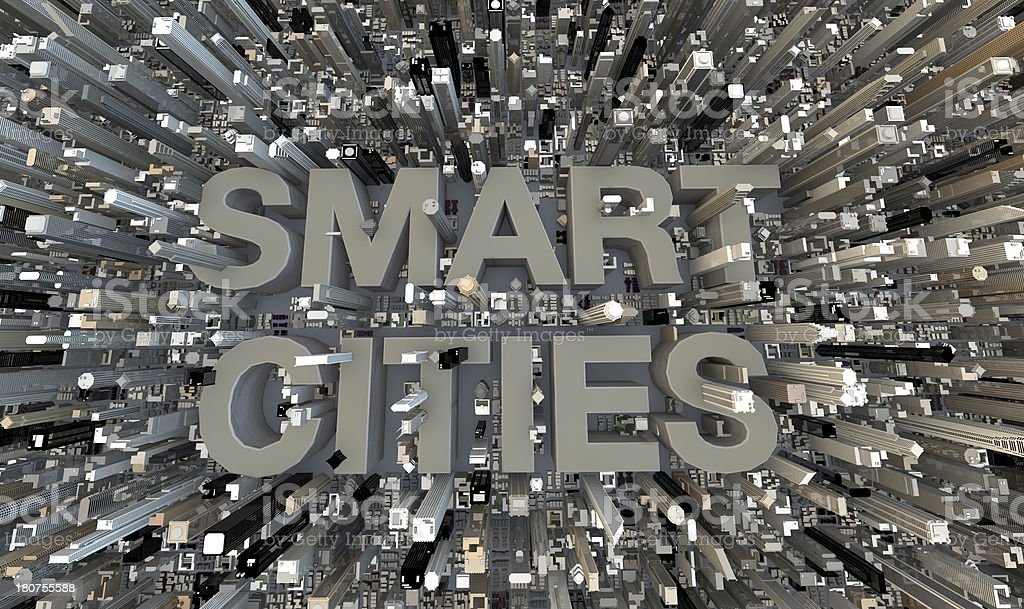 Smart Cities 3d concrete text in between skyscrapers stock photo