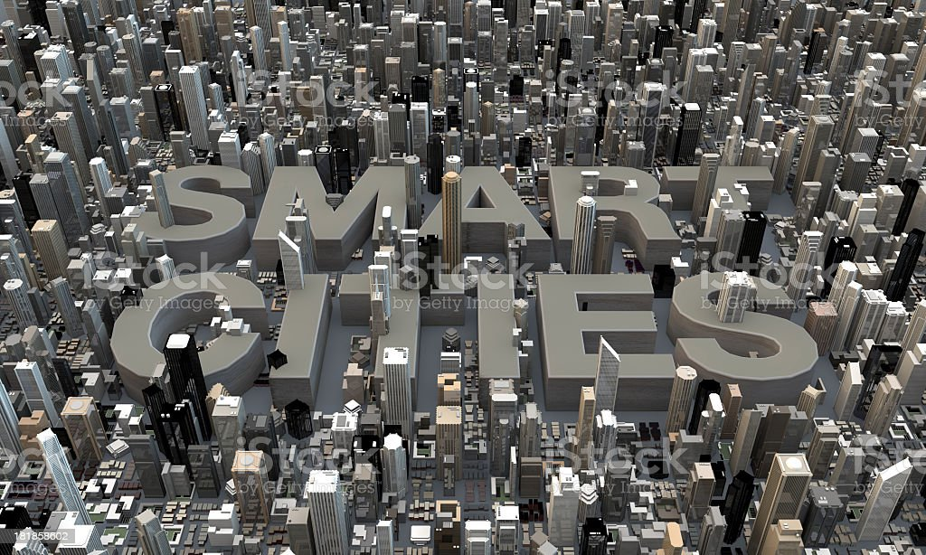 Smart Cities 3d letters in between skyscrapers stock photo