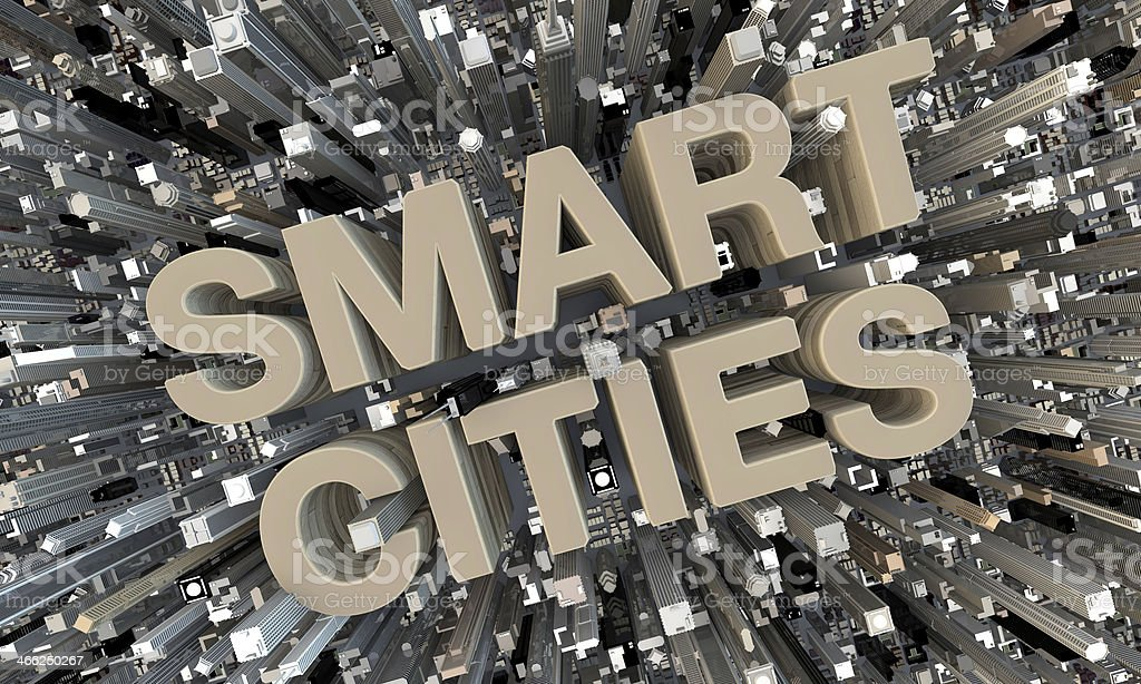 3D Smart Cities beige letters in between skyscrapers stock photo