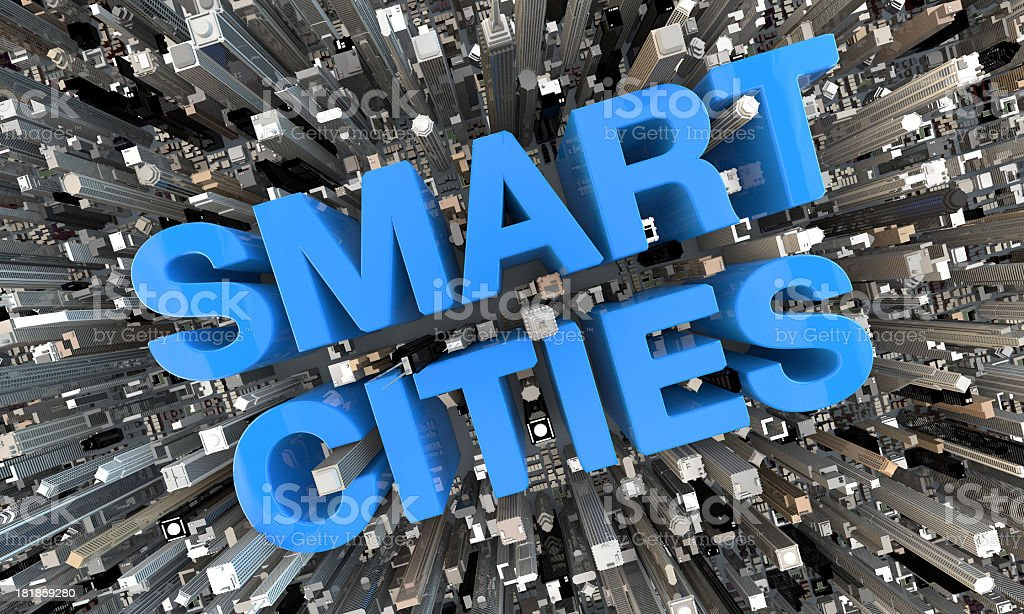 3D Smart Cities blue letters in between skyscrapers stock photo