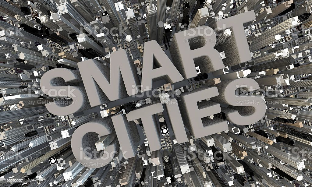 3D Smart Cities gray letters in between skyscrapers stock photo
