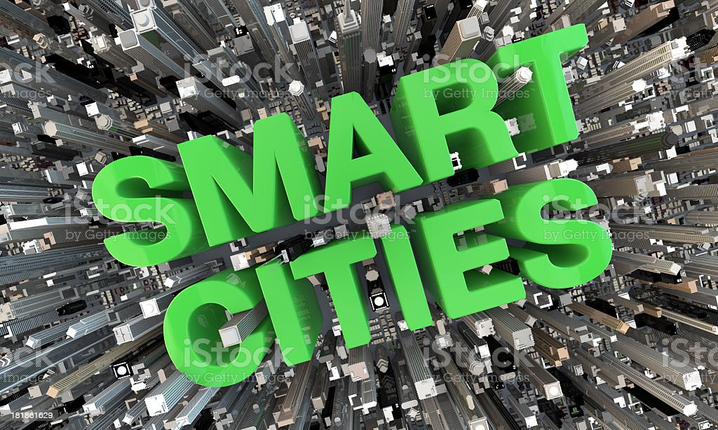 3D Smart Cities Green Letters in between skyscrapers stock photo