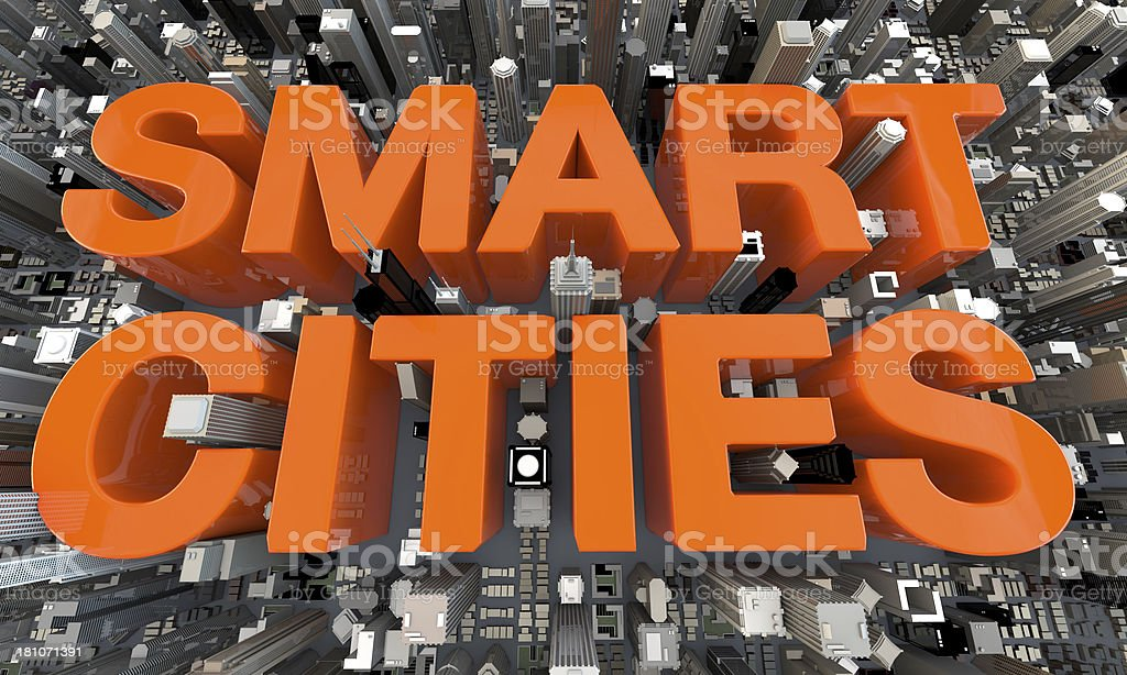 3D Smart Cities Orange Letters in between skyscrapers stock photo