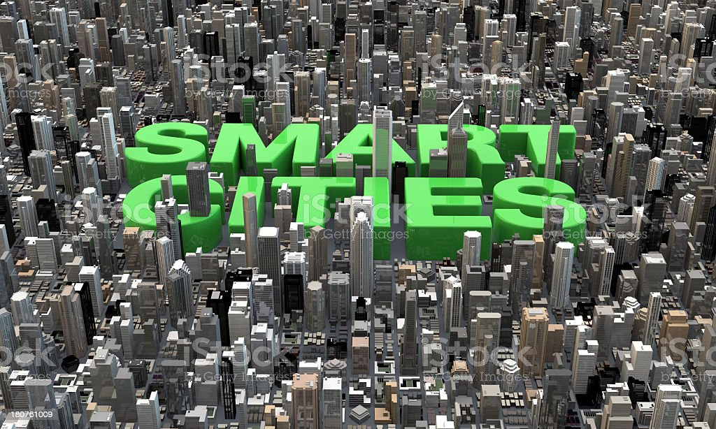 3D smart cities text in between buildings skyscrapers stock photo