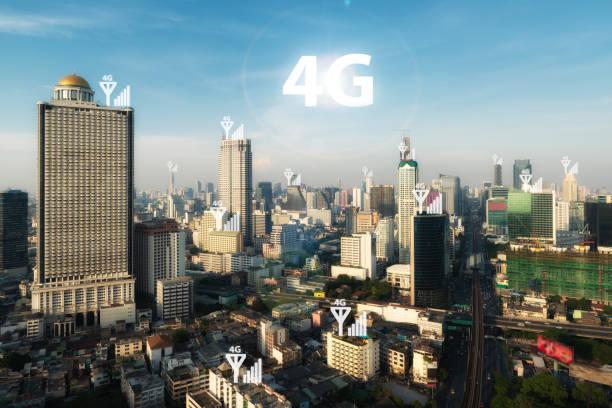 smart city and 4g signal network - 4g foto e immagini stock