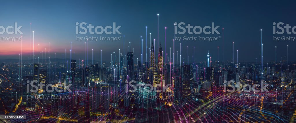 A cidade esperta e o ponto de Dot abstrato conectam com linha do inclinação - Foto de stock de Abstrato royalty-free