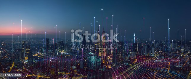 istock Smart city and abstract dot point connect with gradient line 1173279965