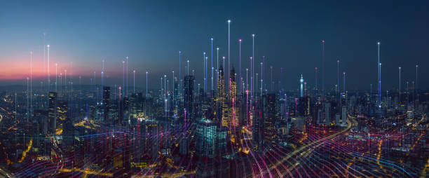 inteligentne miasto i abstrakcyjny punkt punktowy łączą się z linią gradientu - sieć komputerowa zdjęcia i obrazy z banku zdjęć