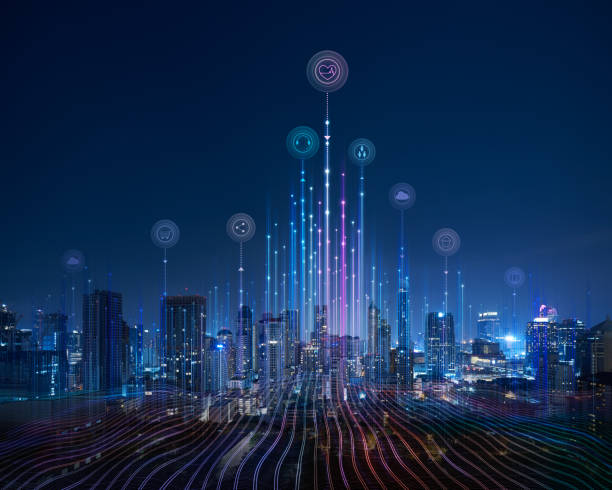 Smart city and abstract dot point connect with gradient line stock photo