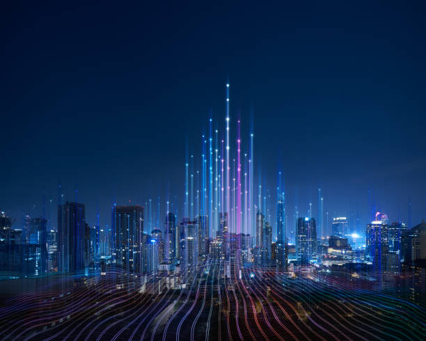 Smart city and abstract dot point connect with gradient line Smart city and abstract dot point connect with gradient line and aesthetic Intricate wave line design , big data connection technology concept . technology stock pictures, royalty-free photos & images