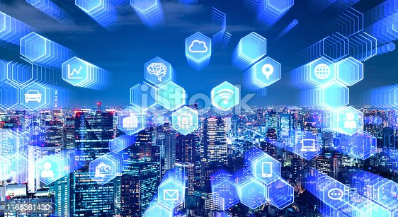 istock Smart city and communication network concept. 5G. Internet of Things. Artificial intelligence. 1168361430