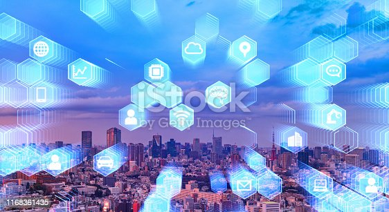 1129543866 istock photo Smart city and communication network concept. 5G. Internet of Things. Artificial intelligence. 1168361435