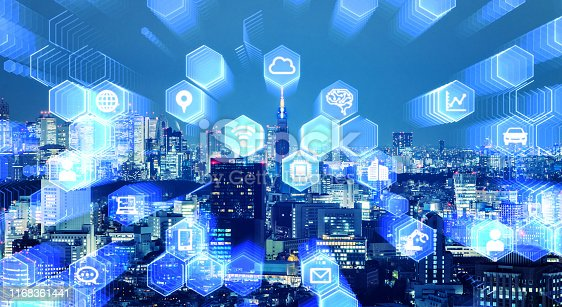 istock Smart city and communication network concept. 5G. Internet of Things. Artificial intelligence. 1168361441