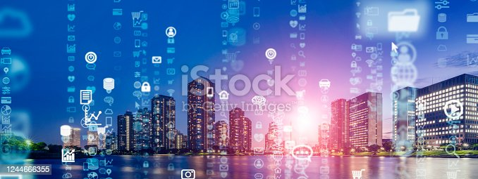 1129543876 istock photo Smart city and communication network concept. 5G. IoT (Internet of Things). Telecommunication. 1244666355
