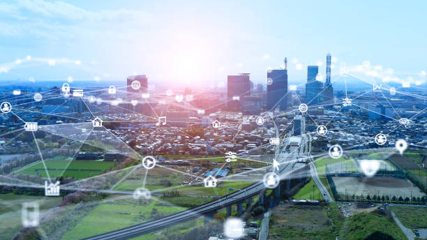 Smart city and communication network concept. 5G. IoT (Internet of Things). Telecommunication. stock photo