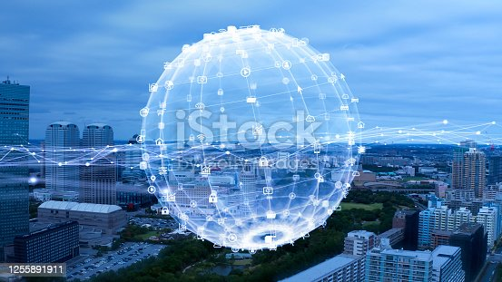 904420364 istock photo Smart city and communication network concept. 5G. IoT (Internet of Things). Telecommunication. 1255891911