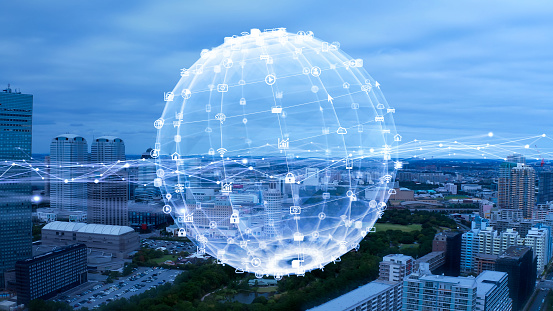 872670560 istock photo Smart city and communication network concept. 5G. IoT (Internet of Things). Telecommunication. 1255891911