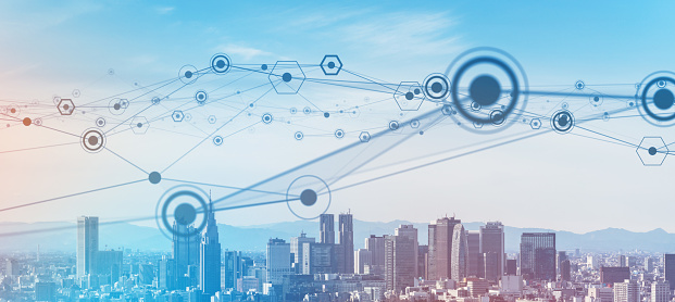 1013969318 istock photo Smart city and communication network concept. 5G. IoT (Internet of Things). Telecommunication. 1263350121