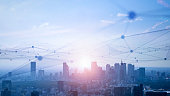 istock Smart city and communication network concept. 5G. IoT (Internet of Things). Telecommunication. 1283639096