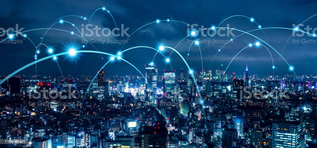 Smart city and communication network concept. 5G. LPWA (Low Power Wide Area). Wireless communication. - Royalty-free 5G Stock Photo