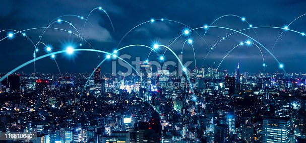 1129543876 istock photo Smart city and communication network concept. 5G. LPWA (Low Power Wide Area). Wireless communication. 1168106401