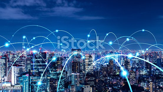 istock Smart city and communication network concept. 5G. LPWA (Low Power Wide Area). Wireless communication. 1176054530