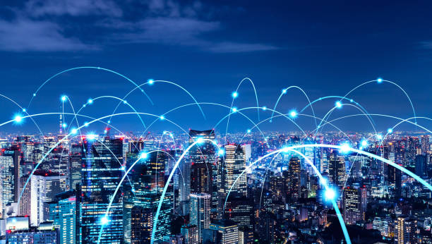Smart city and communication network concept. 5G. LPWA (Low Power Wide Area). Wireless communication. Smart city and communication network concept. 5G. LPWA (Low Power Wide Area). Wireless communication. telecommunications equipment stock pictures, royalty-free photos & images