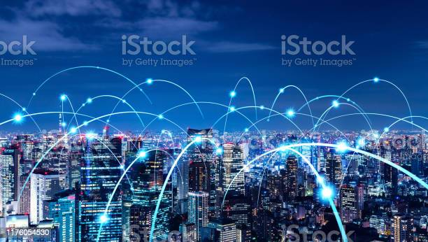 Smart City And Communication Network Concept 5g Lpwa Wireless Communication Stock Photo - Download Image Now